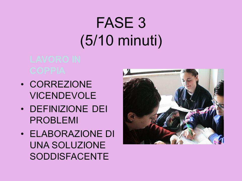 FASE 3 (5/10 minuti) LAVORO IN COPPIA CORREZIONE VICENDEVOLE