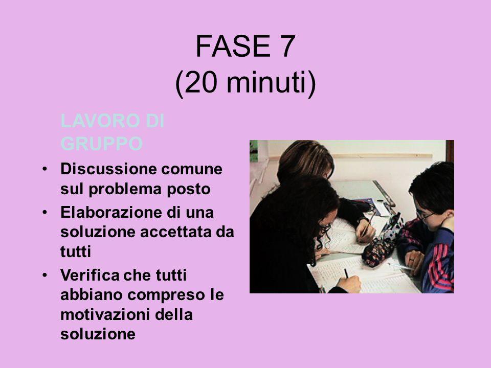 FASE 7 (20 minuti) LAVORO DI GRUPPO