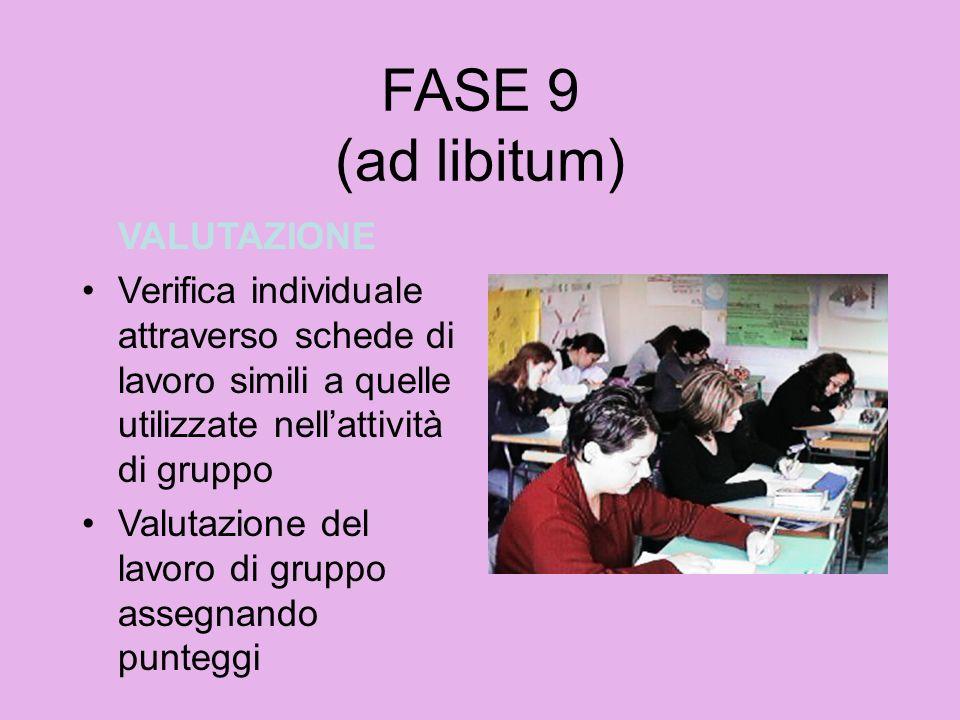 FASE 9 (ad libitum) VALUTAZIONE