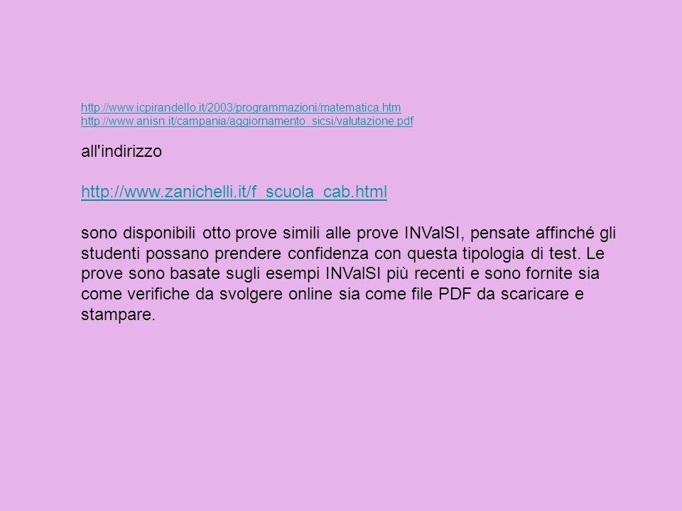 http://www.icpirandello.it/2003/programmazioni/matematica.htm http://www.anisn.it/campania/aggiornamento_sicsi/valutazione.pdf.