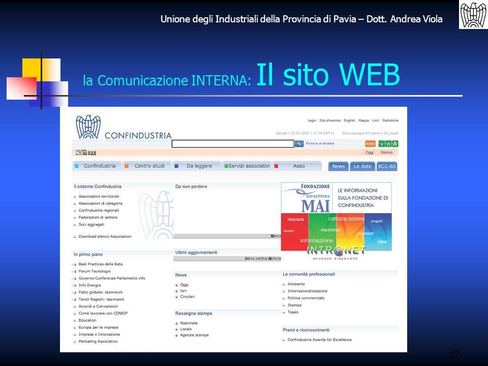 la Comunicazione INTERNA: Il sito WEB