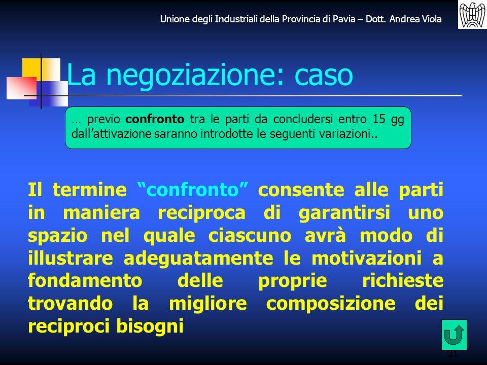 La negoziazione: caso … previo confronto tra le parti da concludersi entro 15 gg dall'attivazione saranno introdotte le seguenti variazioni..