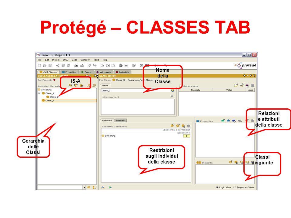Protégé – CLASSES TAB Nome della Classe IS-A Relazioni e attributi