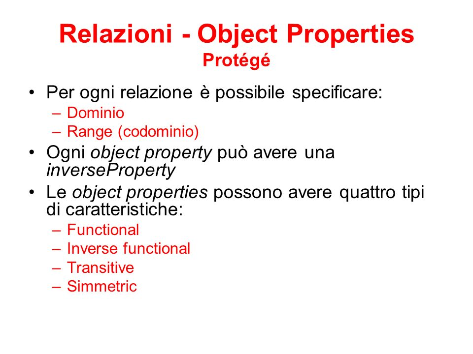 Relazioni - Object Properties Protégé