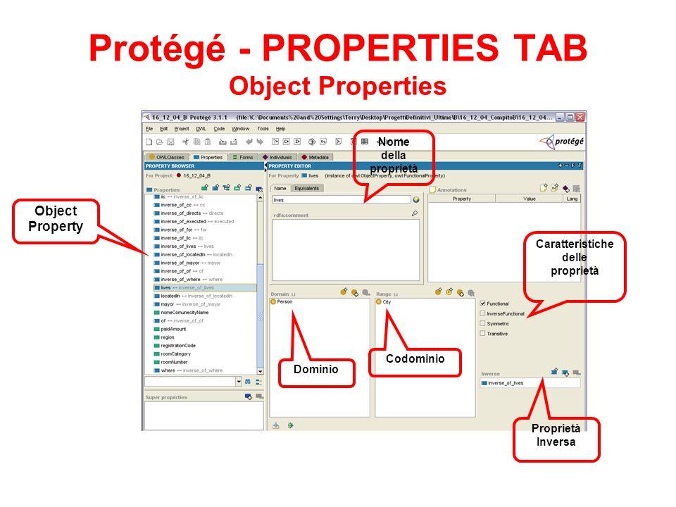 Protégé - PROPERTIES TAB Object Properties