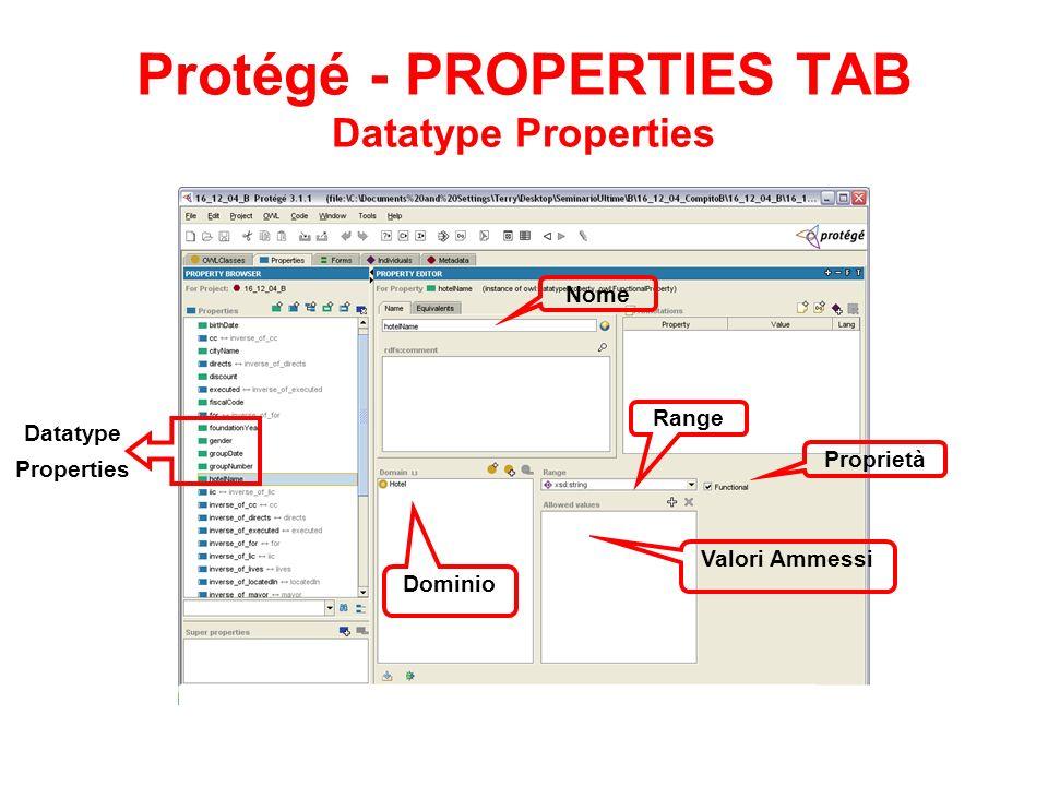 Protégé - PROPERTIES TAB Datatype Properties