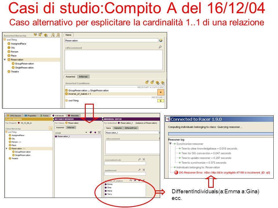 Casi di studio:Compito A del 16/12/04 Caso alternativo per esplicitare la cardinalità 1..1 di una relazione