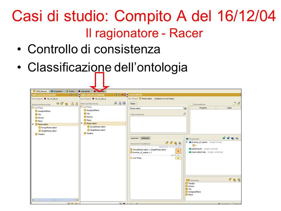 Casi di studio: Compito A del 16/12/04 Il ragionatore - Racer