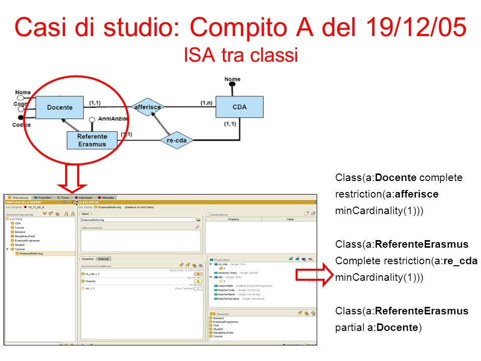 Casi di studio: Compito A del 19/12/05 ISA tra classi