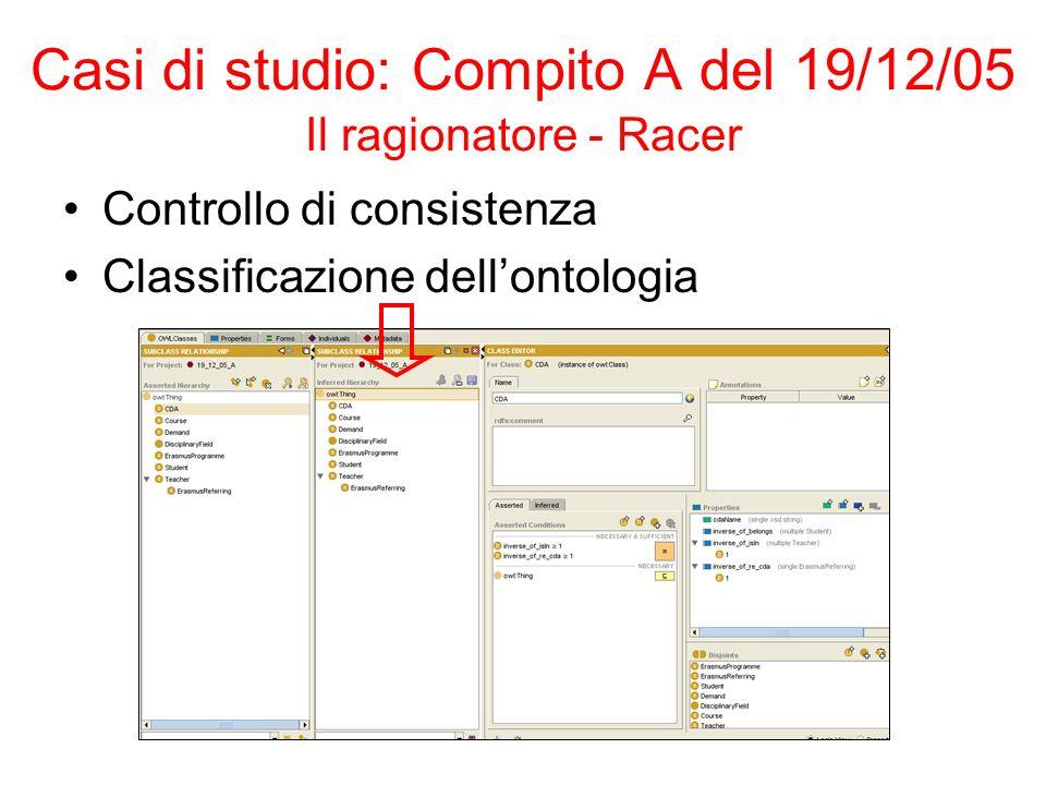 Casi di studio: Compito A del 19/12/05 Il ragionatore - Racer