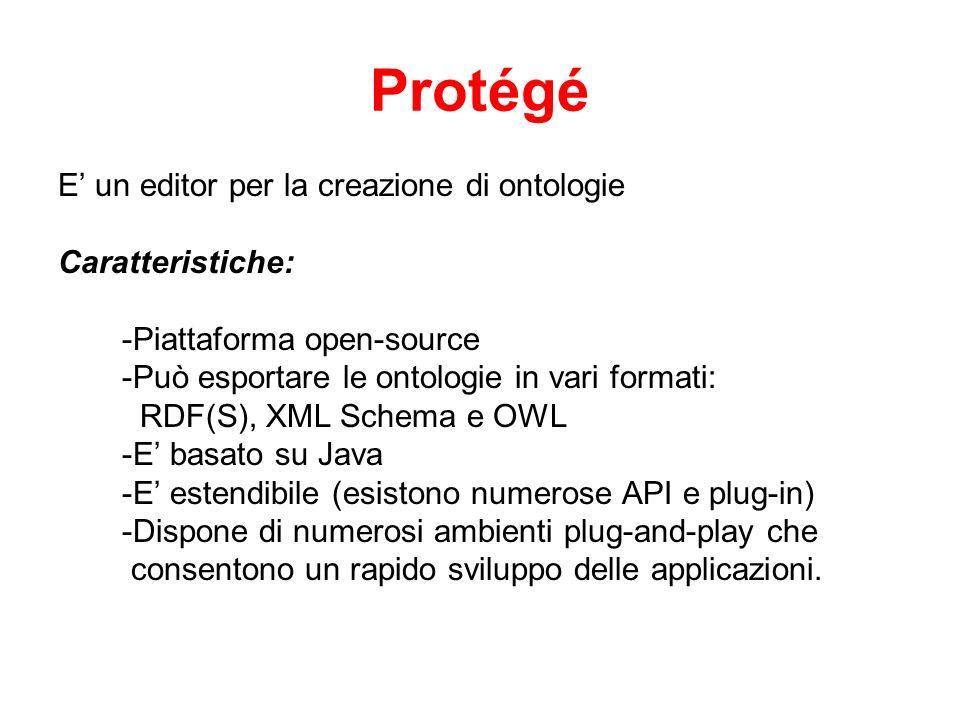 Protégé E' un editor per la creazione di ontologie Caratteristiche:
