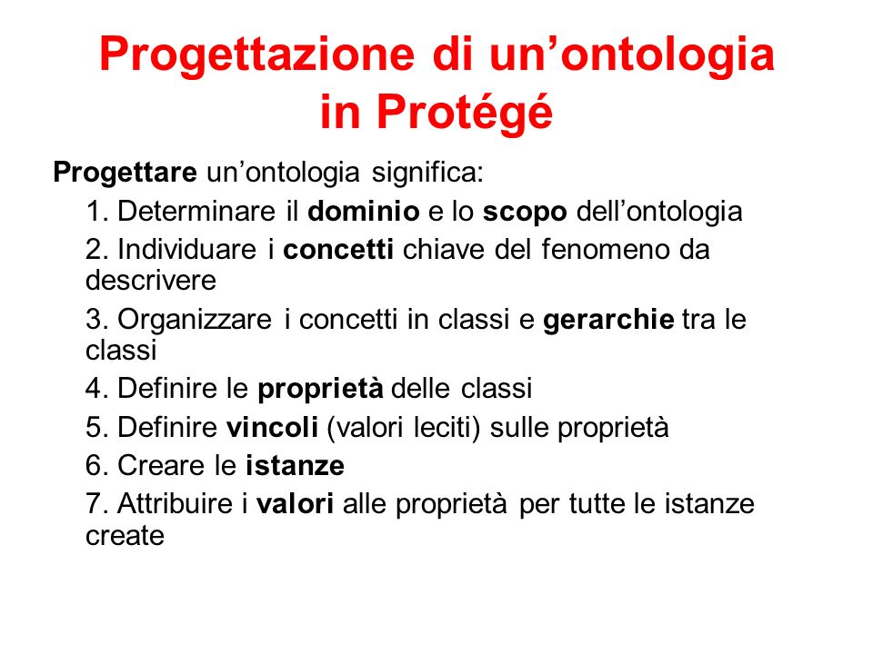 Progettazione di un'ontologia in Protégé
