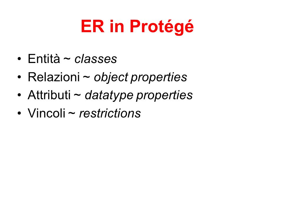 ER in Protégé Entità ~ classes Relazioni ~ object properties