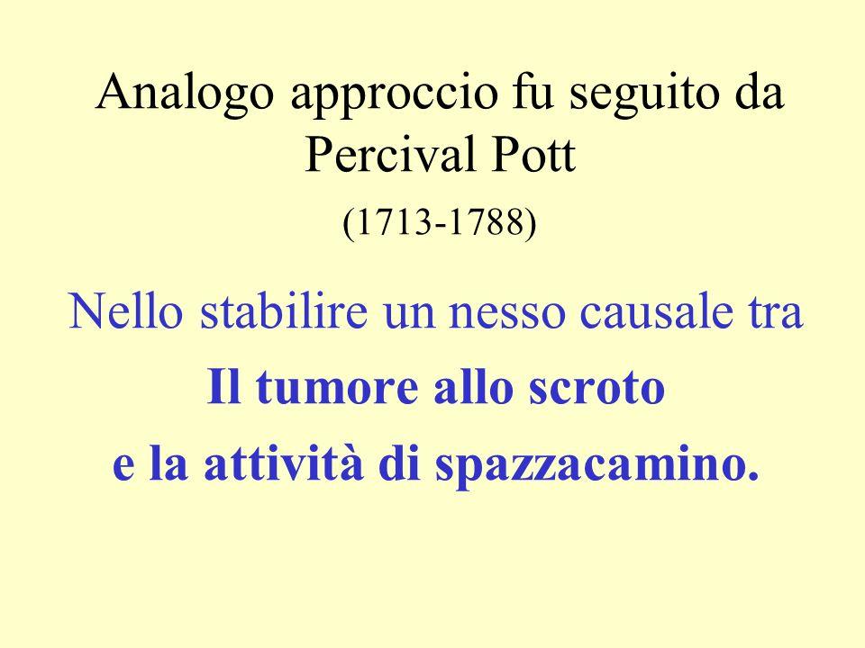 Analogo approccio fu seguito da Percival Pott (1713-1788)