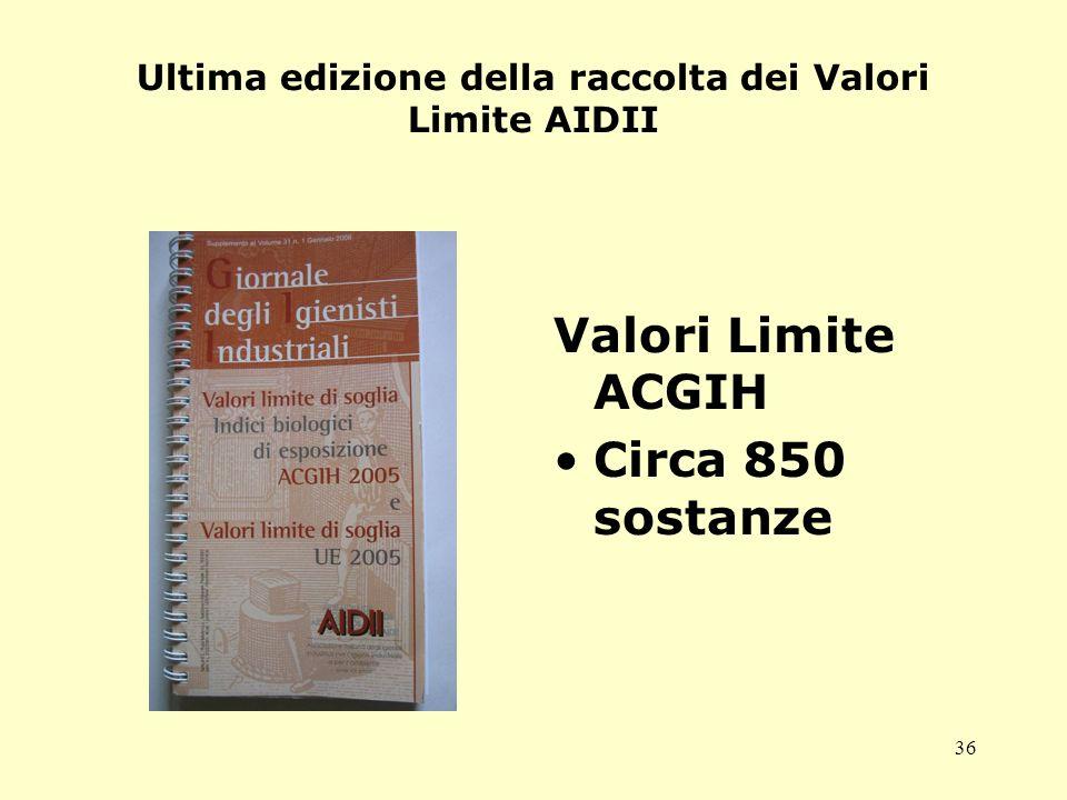 Ultima edizione della raccolta dei Valori Limite AIDII