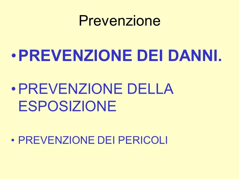 PREVENZIONE DEI DANNI. Prevenzione PREVENZIONE DELLA ESPOSIZIONE