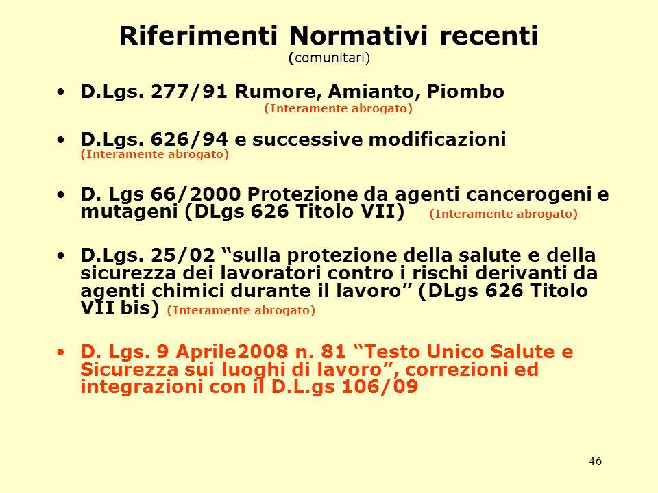 Riferimenti Normativi recenti (comunitari)