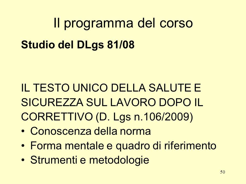 Il programma del corso Studio del DLgs 81/08