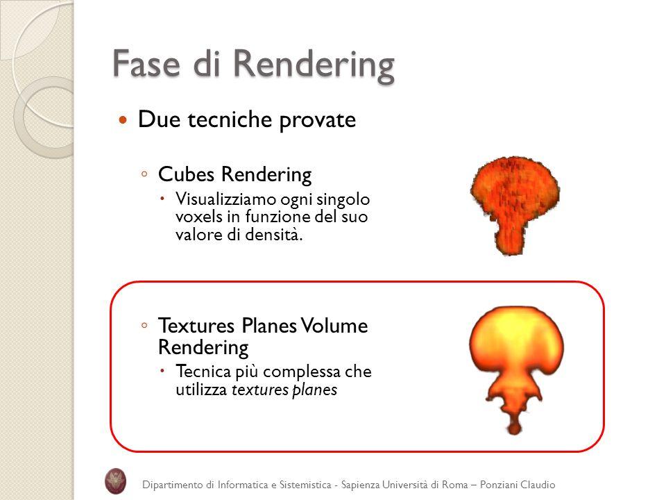 Fase di Rendering Due tecniche provate Cubes Rendering