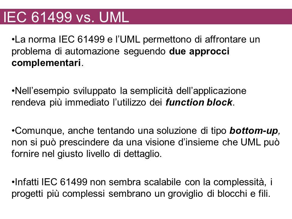 IEC 61499 vs. UML La norma IEC 61499 e l'UML permettono di affrontare un problema di automazione seguendo due approcci complementari.