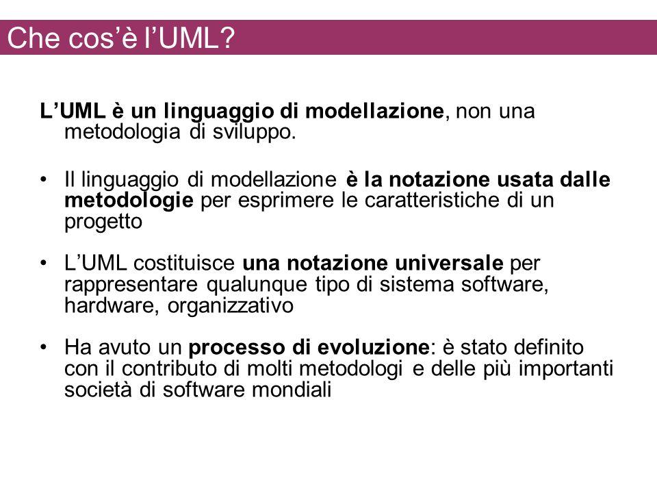 Che cos'è l'UML L'UML è un linguaggio di modellazione, non una metodologia di sviluppo.