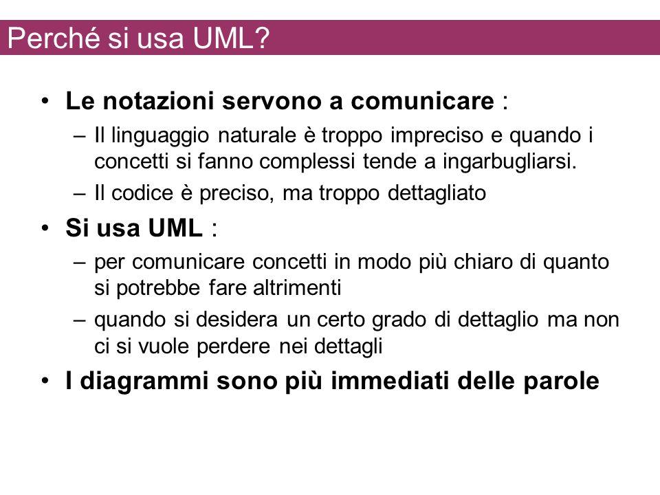 Perché si usa UML Le notazioni servono a comunicare : Si usa UML :