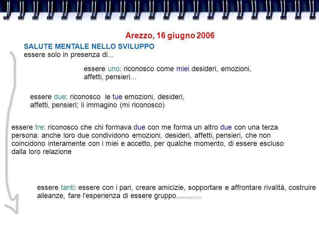 Arezzo, 16 giugno 2006 SALUTE MENTALE NELLO SVILUPPO