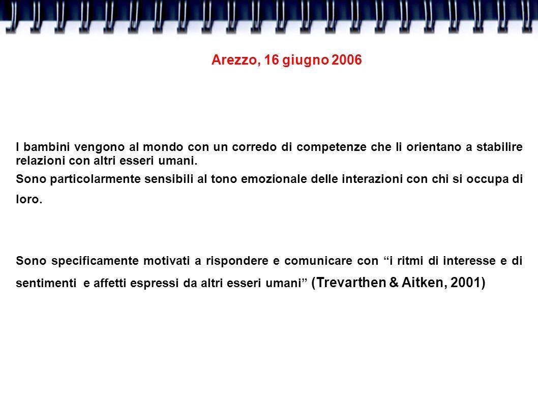 Arezzo, 16 giugno 2006 I bambini vengono al mondo con un corredo di competenze che li orientano a stabilire relazioni con altri esseri umani.