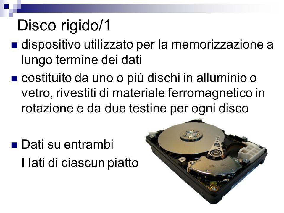 Disco rigido/1 dispositivo utilizzato per la memorizzazione a lungo termine dei dati.