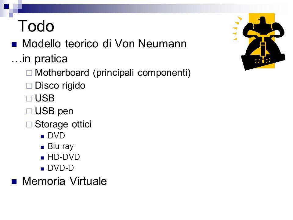 Todo Modello teorico di Von Neumann …in pratica Memoria Virtuale