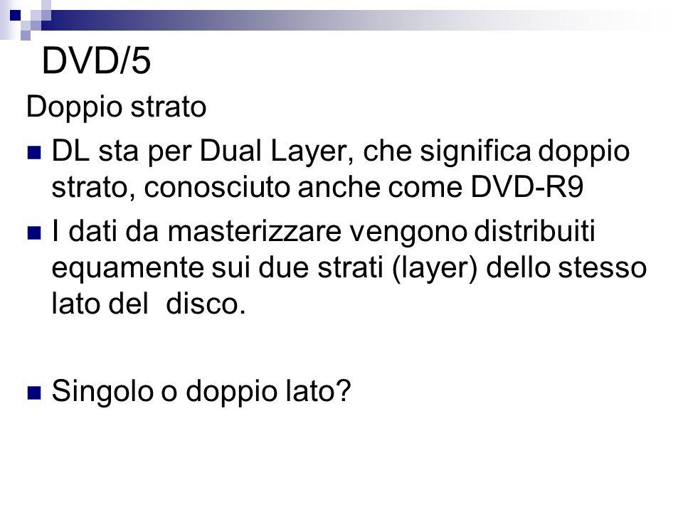 DVD/5 Doppio strato. DL sta per Dual Layer, che significa doppio strato, conosciuto anche come DVD-R9.