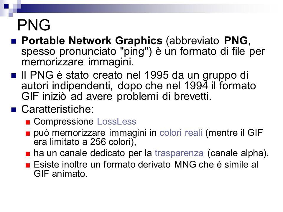 PNG Portable Network Graphics (abbreviato PNG, spesso pronunciato ping ) è un formato di file per memorizzare immagini.