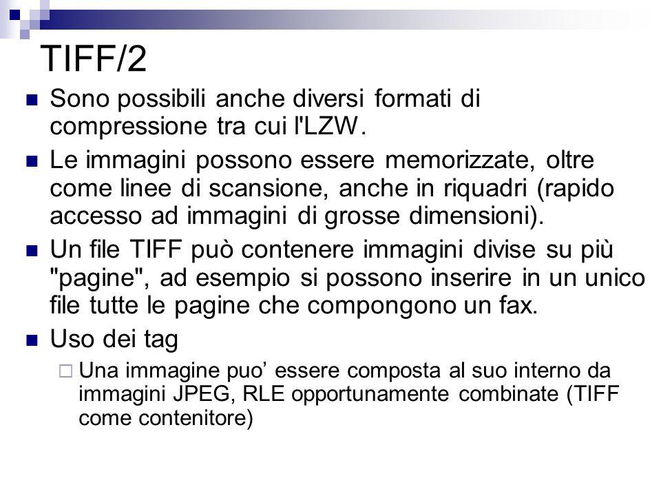TIFF/2 Sono possibili anche diversi formati di compressione tra cui l LZW.
