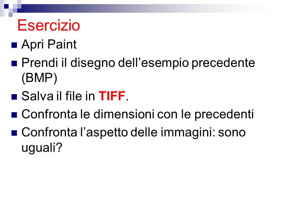 Esercizio Apri Paint Prendi il disegno dell'esempio precedente (BMP)