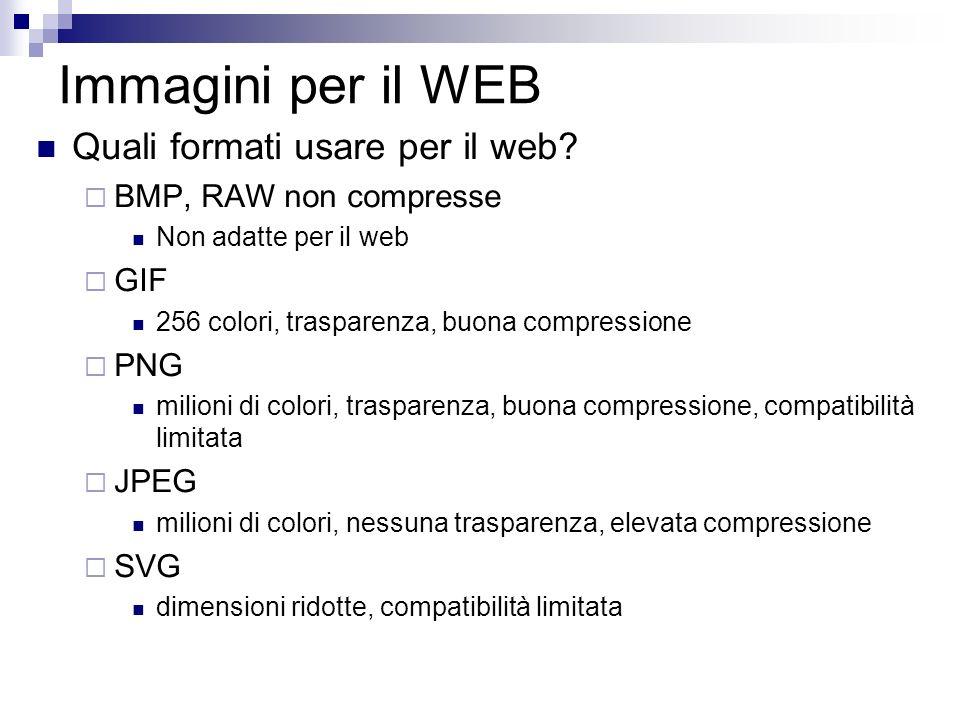 Immagini per il WEB Quali formati usare per il web