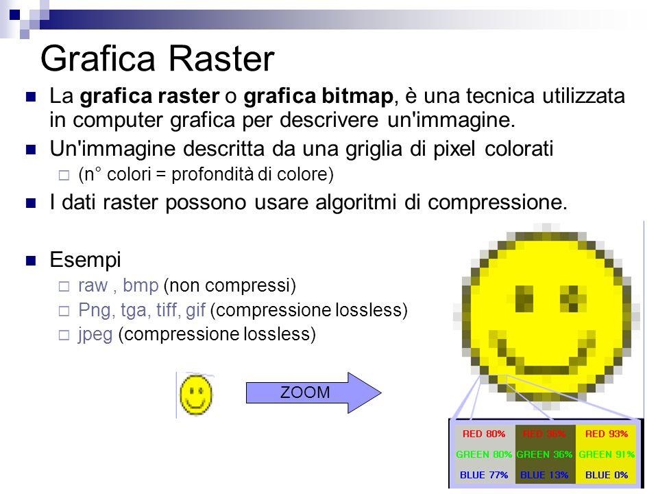 Grafica Raster La grafica raster o grafica bitmap, è una tecnica utilizzata in computer grafica per descrivere un immagine.