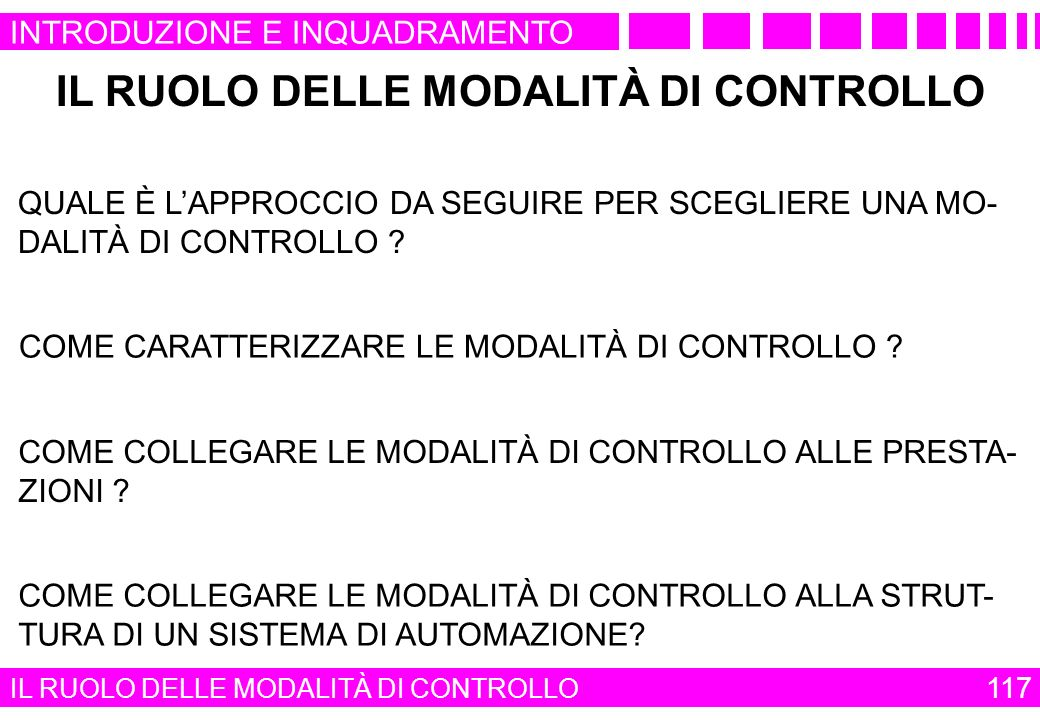 IL RUOLO DELLE MODALITÀ DI CONTROLLO