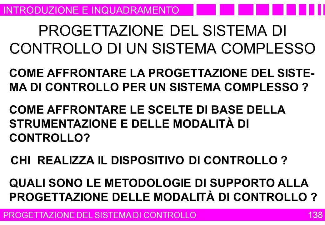 PROGETTAZIONE DEL SISTEMA DI CONTROLLO DI UN SISTEMA COMPLESSO
