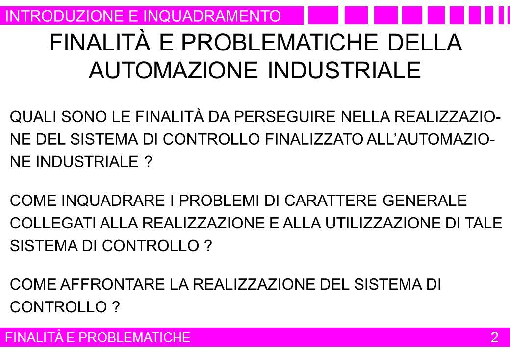 FINALITÀ E PROBLEMATICHE DELLA AUTOMAZIONE INDUSTRIALE