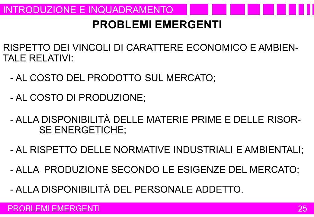 PROBLEMI EMERGENTI INTRODUZIONE E INQUADRAMENTO