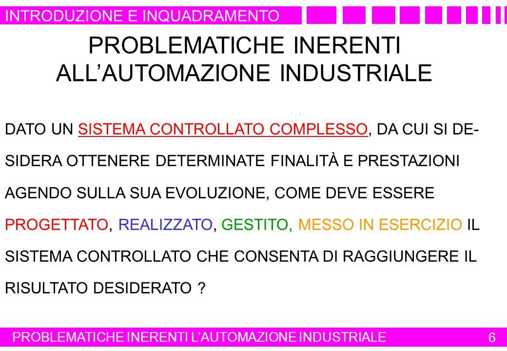 PROBLEMATICHE INERENTI ALL'AUTOMAZIONE INDUSTRIALE
