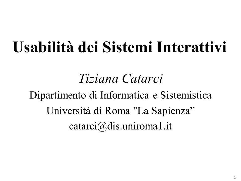 Usabilità dei Sistemi Interattivi