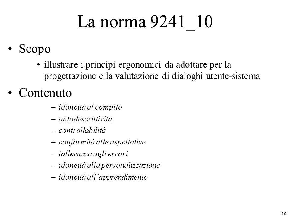 La norma 9241_10 Scopo Contenuto