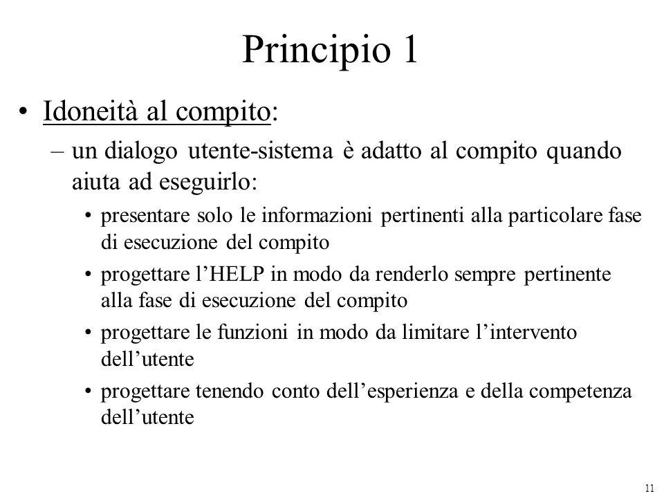 Principio 1 Idoneità al compito: