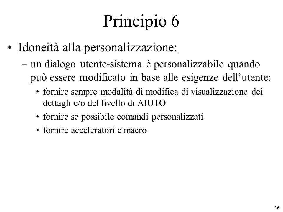 Principio 6 Idoneità alla personalizzazione:
