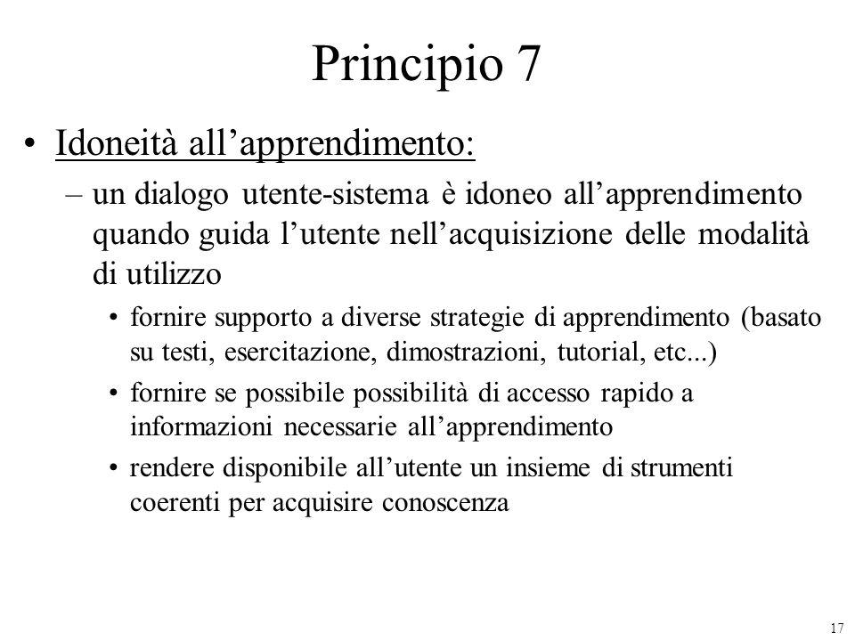 Principio 7 Idoneità all'apprendimento: