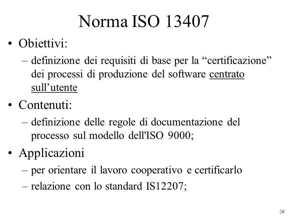 Norma ISO 13407 Obiettivi: Contenuti: Applicazioni