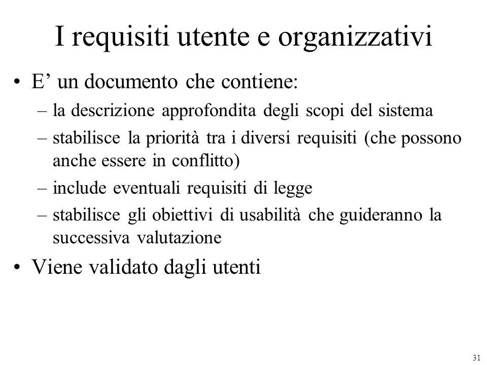 I requisiti utente e organizzativi