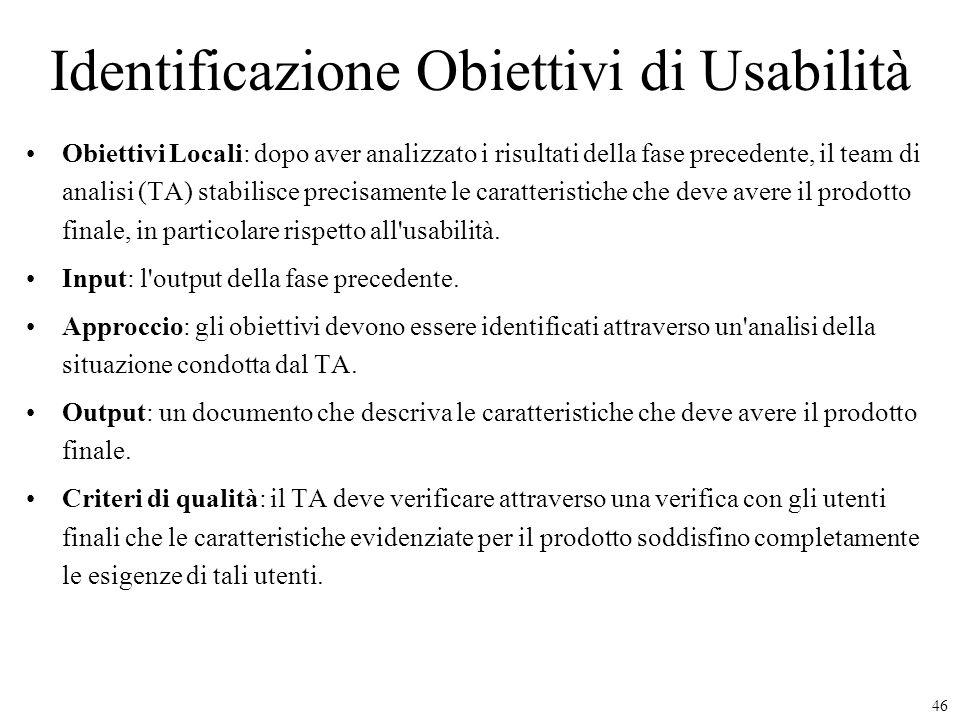 Identificazione Obiettivi di Usabilità