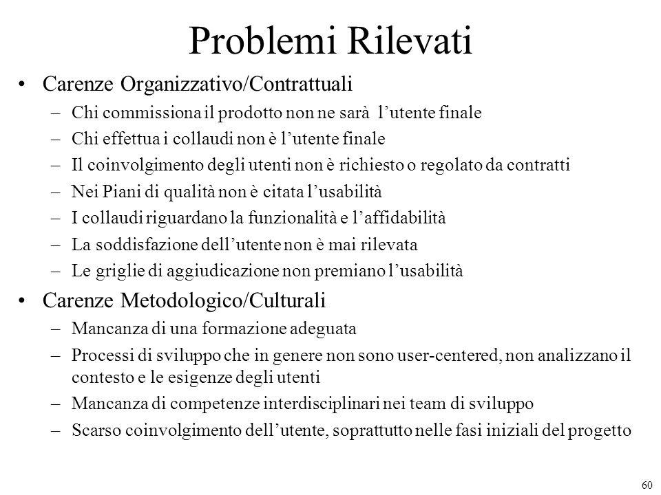 Problemi Rilevati Carenze Organizzativo/Contrattuali